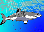 Sharks Digital Art Originals - Great White by Bill Baker jr
