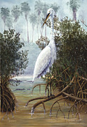 Kevin Brant Paintings - Great White Heron by Kevin Brant