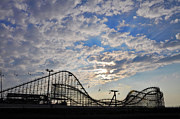 Great White Roller Coaster - Adventure Pier Wildwood Nj At Sunrise Print by Bill Cannon