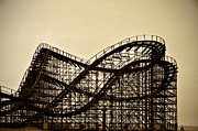 Pier Digital Art Prints - Great White Roller Coaster - Adventure Pier Wildwood NJ in Sepia Print by Bill Cannon