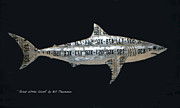 Sharks Mixed Media Posters - Great White Shark Poster by Bill  Thomson