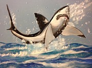 Great Painting Originals - Great White Shark by Biren Biren