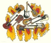 Keith Richards Drawings - Greatest Guitars by Steve Weber