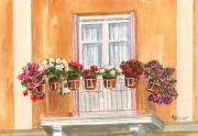 Greece Painting Originals - Grecian Balcony by Marsha Elliott