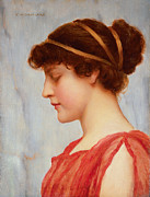 Neo-classical Framed Prints - Grecian Reverie Framed Print by John William Godward