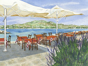 Tables Framed Prints - Grecian Seaside Cafe Framed Print by Marsha Elliott