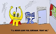 News Mixed Media - Greece and the Euro cartoon by OptionsClick BlogArt
