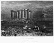 Athena Photos - Greece: Cape Sounion, 1832 by Granger