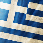 Grungy Photo Prints - Greece flag Print by Setsiri Silapasuwanchai