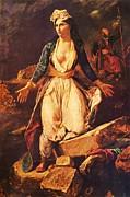 Delacroix Framed Prints - Greece on the Ruins of Missolonghi Framed Print by Pg Reproductions