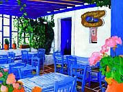 Bistro Painting Metal Prints - Greece Metal Print by Vel Verrept