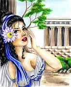 Prismacolor Colored Pencil Drawings Prints - Greecian Lotus Print by Scarlett Royal