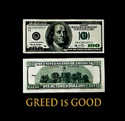 Franklin Mixed Media Metal Prints - Greed is good Metal Print by Dennis Dugan