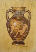 Box Pyrography - Greek amforeas  by Katerina Tsibouraki