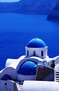 Oia Framed Prints - Greek blue vertical Framed Print by Paul Cowan