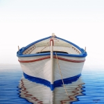 Blue White Prints - Greek Boat Print by Horacio Cardozo