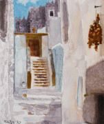Greece Watercolor Paintings - Greek Castle by Marisa Gabetta