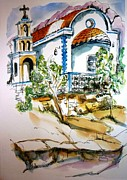 Religious Drawings Metal Prints - Greek Church Metal Print by Therese Alcorn