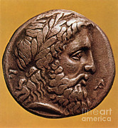 Zeus Framed Prints - Greek Coin With Zeus Framed Print by Photo Researchers