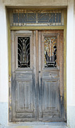 Greek Door With Wrought Iron Window Print by Maria Varnalis