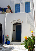 Flowerpot Photos - Greek doorway by Jane Rix