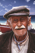 Thira Framed Prints - Greek Fisherman Framed Print by Ron Schwager