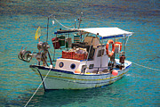 Northeastern Aegean Islands Prints - Greek fishing boat  Print by Emmanuel Panagiotakis