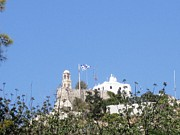 Neo-classical Posters - Greek Flag and Church Atop the Hill in Athens Greece Poster by John A Shiron