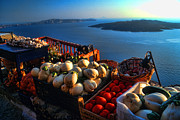 Famous Place Tapestries Textiles - Greek food at Santorini by David Smith