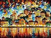 Yacht Painting Originals - Greek Harbor At Night by Leonid Afremov