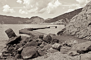 Skopelos Metal Prints - Greek harbour Metal Print by Tom Gowanlock