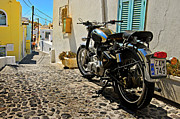 Royal Blue Posters - Greek Island Royal Enfield Poster by Meirion Matthias