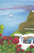 Red Geraniums Prints - Greek Landscape Print by Jeanne Kay Juhos