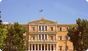 Neo-classical Posters - Greek Parliament Building and Flag in 1960s Style View in Athens Greece Poster by John A Shiron