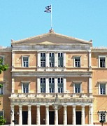 Neo-classical Posters - Greek Parliament Building and Flag in Athens Greece Poster by John A Shiron
