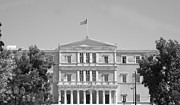 Neo-classical Posters - Greek Parliament Building and Flag in Black and White in Athens Greece Poster by John A Shiron