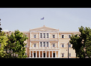Neo-classical Posters - Greek Parliament Building and Flag in Cinemascope View in Athens Greece Poster by John A Shiron