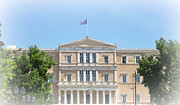 Neo-classical Posters - Greek Parliament Building and Flag in Oval White silhouette in Athens Greece Poster by John A Shiron