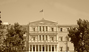 Neo-classical Posters - Greek Parliament Building and Flag in Sepia in Athens Greece Poster by John A Shiron