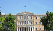 Neo-classical Posters - Greek Parliament Building II and Flag in Athens Greece Poster by John A Shiron