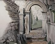Grisaille Paintings - Greek Portal by Joyce Hutchinson