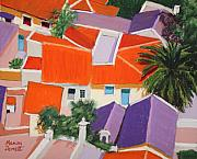 Roofs Pastels - Greek Roofs by Marion Derrett
