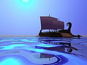 Background Digital Art Posters - Greek Ship Poster by Corey Ford