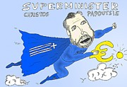 Editorial Cartoon Mixed Media - Greek Superminister Papoutsis by OptionsClick BlogArt