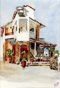 Wine-glass Paintings - Greek Taverna. by Mike Lester