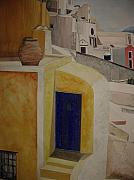 Greece Watercolor Paintings - Greekscape 2 by Caron Sloan Zuger