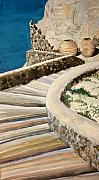 Greece Watercolor Paintings - Greekscape 3 by Caron Sloan Zuger