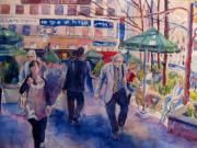 Park Scene Painting Originals - Greeley Square by Joyce Kanyuk
