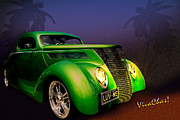 Green 37 Ford Hot Rod Decked Out For A Tropical Saint Patrick Day In South Texas Print by Chas Sinklier