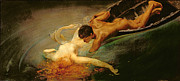 Nude Male Prints - Green Abyss Print by Giulio Aristide Sartorio